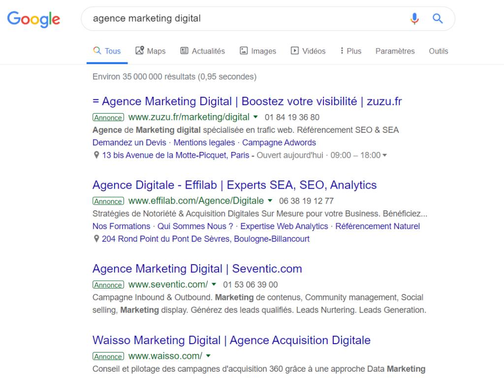agence marketing digital SEA